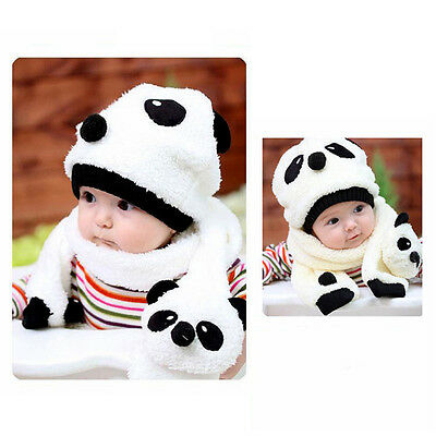 Baby Lovely Cute Pander Hat With Scarf For Boy And Girls Kids Winter Warm Cap US
