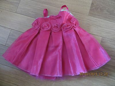 Build A Bear Fuchsia Shimmery  Dress With Rosebuds *low P&p* *ex Cond*