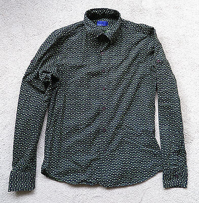 Vintage dark green shirt with green geometric pattern Size L