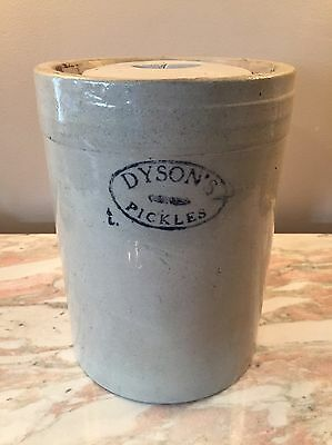 Antique Dyson's Pickles  Stoneware Primitive Crock With Lid Early 1900s