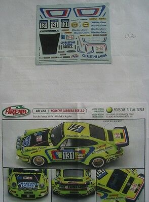 PORSCHE CARRERA RSR n° 131 TOUR DE FRANCE 1974 WOLLEK DECAL 1/43e