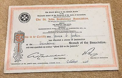 WW2 1940 First Aid To The Injured Certificate