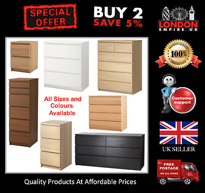 Ikea Malm Chest Of Drawers Bedroom Oak White Brown Green All Colours Fast Del