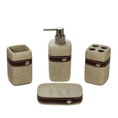 4pc Leather Polystone Bathroom Accessory Set Toothbrush, Dispenser, Tumbler,Tray