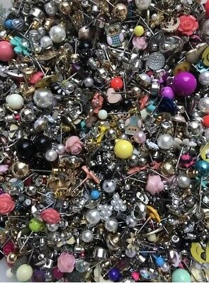 2 lb lot of Small Stud Earrings and Backs - mismatched loose crafts