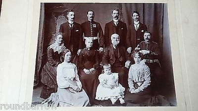 1890 Large Antique Victorian Group Photograph - Military Family - Superb Image