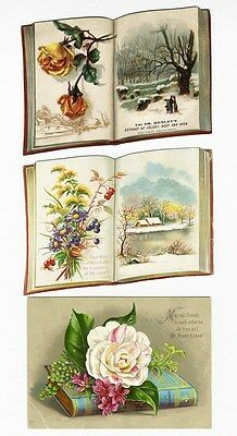 BOOK Shape Die Cut 1880's Greeting Cards - Bible Verse Trade Card Floral