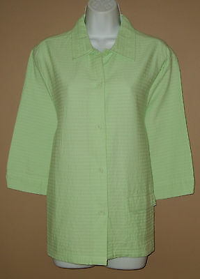 Womens Size Medium 3/4 Long Sleeve Solid Green Striped Button Down Top Shirt