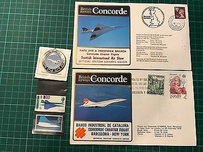 Two Concorde official British Airways covers with mint stamps and medal.