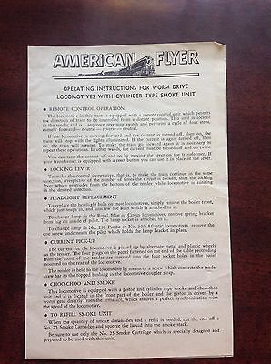 American  Flyer Instruction Worm Drive Locomotives Cylinder Type Smoke Unit