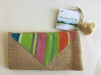 NEW Trades of Hope Coin Purse pouch Zip Top Lined Guatemala Burlap 3.5 x 7