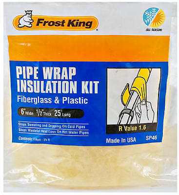 THERMWELL PRODUCTS 6-Inch x 25-Ft. Fiberglass Pipe Wrap Insulation Kit