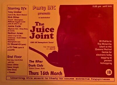 The Juice Joint.Rave Flyer.Nottingham.Rare.House.Ex Condition.