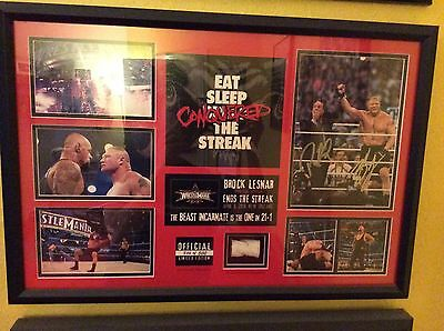 Brock Lesnar And Paul Heyman Wrestlemania 30 WWE Plaque Hand Signed, Ring Rope