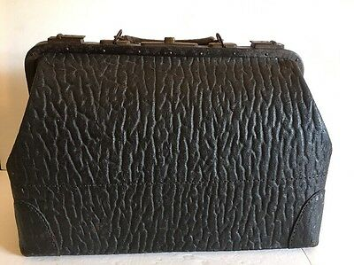 Early Doctor's Medical Bag Civil War? Cloth Interior Walrus? Leather? Great Item