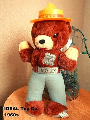 Ideal 1960s Smokey Bear Plush Doll with Original Ideal Shipping Box