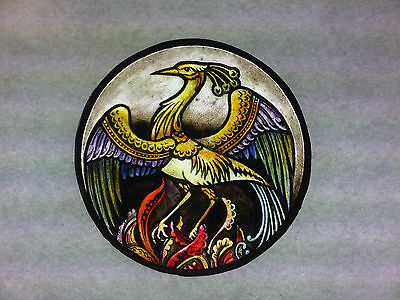 Beautiful Stained glass.BIRD.Hand painted.Kiln fired.Diameter- 150 mm. New.