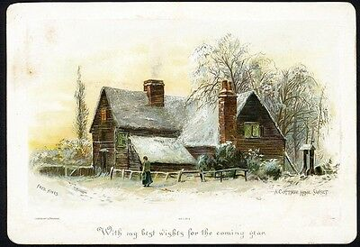 COTTAGE HOME in Snow by FREDERICK HINES Victorian Card 1880's HILDESHEIMER Pub.