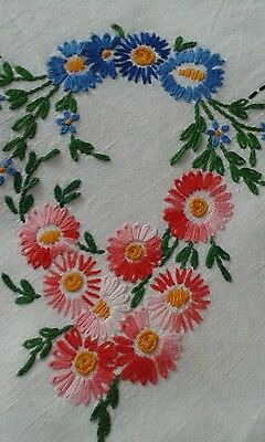 Vintage embroidered tablecloth with crocheted? edging