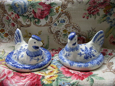 2 small lids only hen Portugal Secla blue hand painted vintage