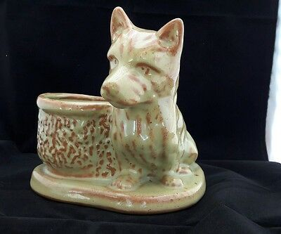 Vintage Pottery Dog Corgi? with Vase/Planter or Pen Holder