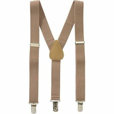 Childrens Toddlers Boy Girls Elastic Adjustable Suspender Khaki Beige