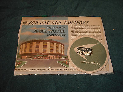 ariel hotel add and two ariel coasters. c1950s-60s london airport.