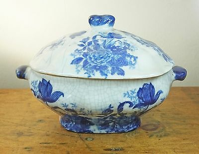 Antique Victorian Blue and white floral lidded serving tureen peony peonies