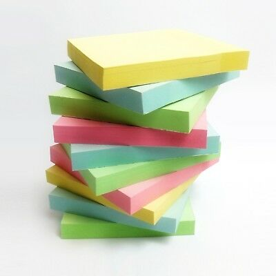 Assorted Self-Stick Pastel Removable Sticky Coloured Notes Pads 76mm x 76mm