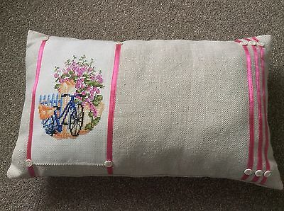 Handmade Oblong Cushion Neutral Bicycle Cross Stitch Panel