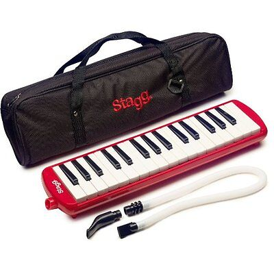 Stagg 32 Note Melodica Wind Piano, Keyboard, Red,Organ, Case