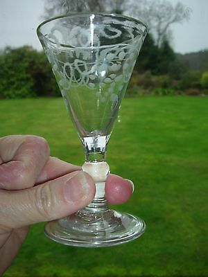 VERY OLD CORDIAL GLASS with FOLDED FOOT & early DECORATION & SHARP PONTIL MARK
