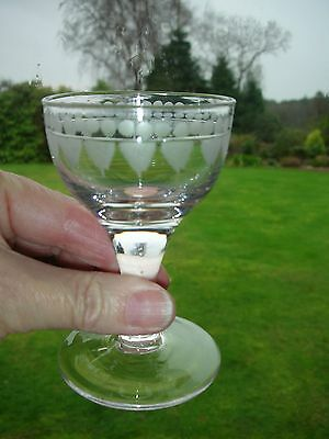 VERY OLD CORDIAL GLASS with early DECORATION & SHARP PONTIL MARK