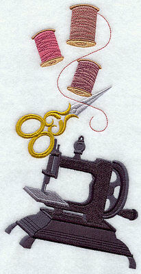 Embroidered Ye olde sewing stack quilt block, fabric,cushion panel,machine,art