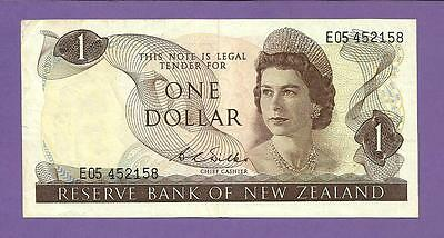 [AN] QEII New Zealand $1 1968 Early Issue P163b VF+