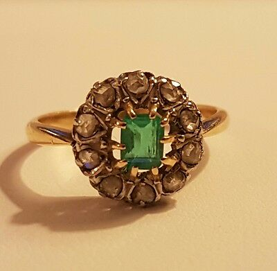 Antique Late Victorian French Emerald & Diamond 18k Gold Ring