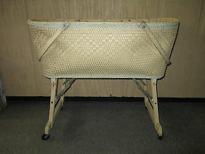 Antique Wicker & Wood, Baby Bassinet Cradle, Foldable Wheels
