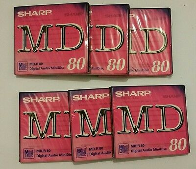 Sharp MD-R 80. Digital Audio Mini Disc X 6. New and sealed.