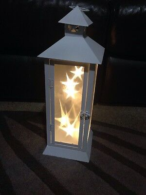Tall Indoor Square White Lantern With LED Candle Metal