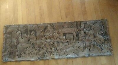 """Vintage Woven Tapestry Parlor Scene 55""""x 19"""" Wall Hanging  cat dog chickens mand"""