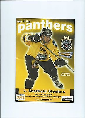 03/04 Nottingham Panthers v Sheffield Steelers Sept 20th Mint Condition