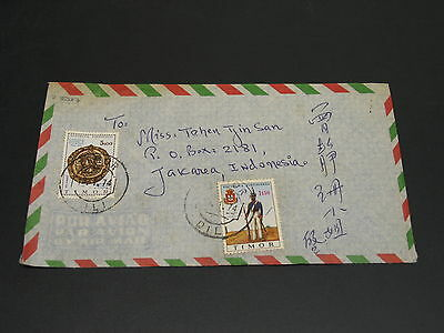Timor 1974 airmail cover to Indonesia stain pin holes *23297