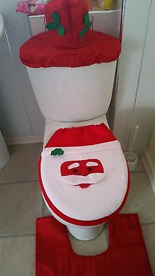 4 Pieces Christmas Decorations Happy Santa Toilet Seat Cover