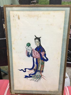 Antique Framed Chinese Pith Paper Painting 19Th Century #1