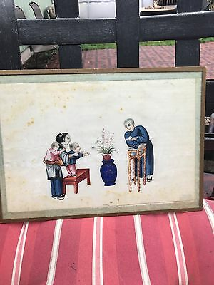 Antique Framed Chinese Pith Paper Painting 19Th Century #2
