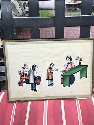 Antique Framed Chinese Pith Paper Painting 19Th Century #3