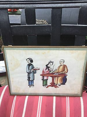 Antique Framed Chinese Pith Paper Painting 19Th Century #4
