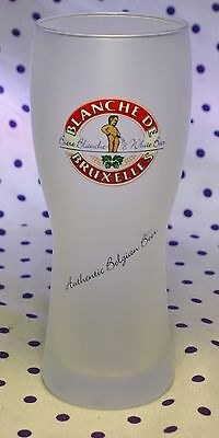 Blanche de Bruxelles Authentic Belgian White Beer Frosted Tulip Drinking Glass