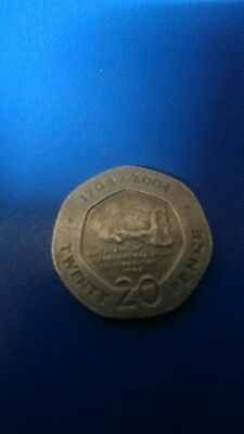 Rare 1704 - 2004 Gibraltar Discovery of Neanderthal Skull 20p twenty pence Coin