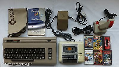 Commodore 64 Computer Package + Leads Tape Deck Joystick & Games Tested Working